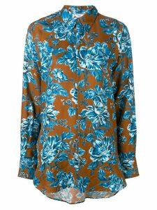 Ami Paris Long Flower Printed Shirt - Brown
