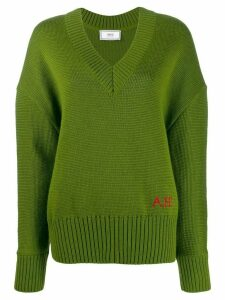 Ami Paris V Neck Oversize Sweater - Green