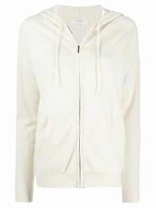 Chinti and Parker Contrast Stripe Cashmere hoodie - White