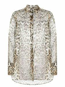 Ermanno Scervino sheer leopard print blouse - NEUTRALS