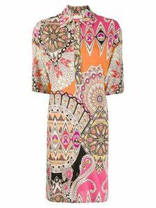 Etro pattern-mix shirt dress - ORANGE