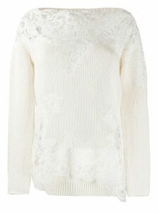 Ermanno Scervino lace-panels knit jumper - NEUTRALS