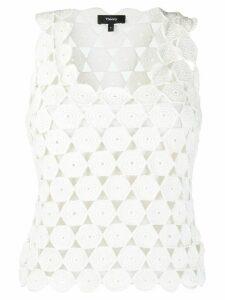 Theory geometric-crochet tank top - White