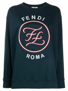 Fendi printed Karligraphy motif sweatshirt - Blue