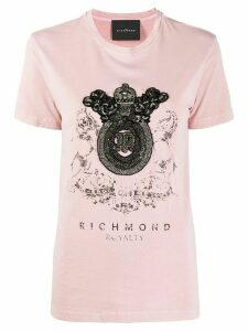 John Richmond embellished crest T-shirt - PINK