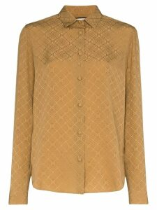 Gucci GCCI TOP SHRT CLLR LS ALOVR GG JACQ SLK - Brown