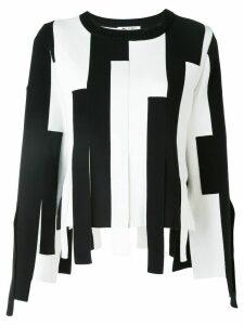 Ports 1961 striped block asymmetric-hem sweater - Black