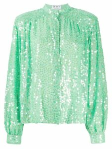 The Attico mandarin collar embellished silk blouse - Green