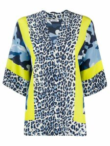 P.A.R.O.S.H. leopard print oversized blouse - Blue