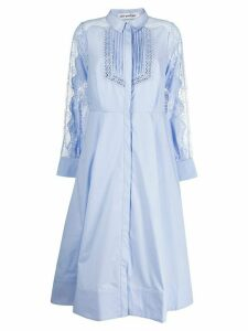 Self-Portrait lace panel midi shirt dress - Blue