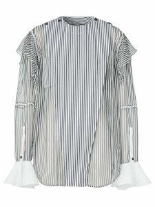 Burberry ruffled-detail striped shirt - White