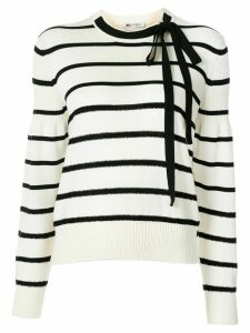 Ports 1961 bow-neck striped sweater - White