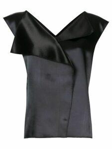 The Row Ori two-tone satin blouse - Black