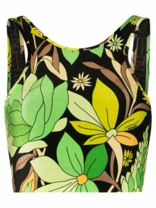 Fendi floral print cropped top - Black