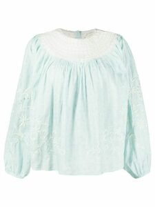 LoveShackFancy Tommy embroidered blouse - Blue
