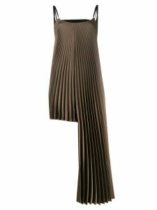 Peter Do asymmetric pleated satin top - Brown