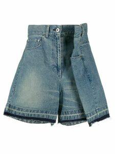 Sacai layered denim shorts - Blue