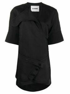 Jil Sander longline wrap blouse - Black