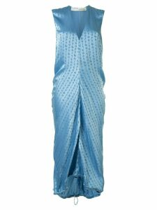 Off-White logo-jacquard sleeveless dress - Blue