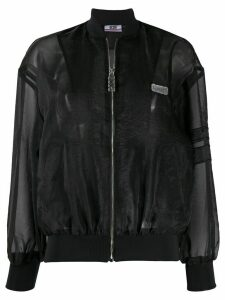Gcds sheer panel bomber jacket - Black