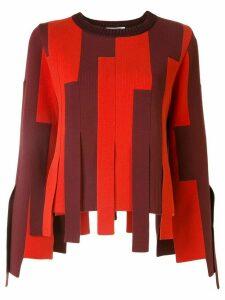 Ports 1961 striped block asymmetric-hem sweater - Red
