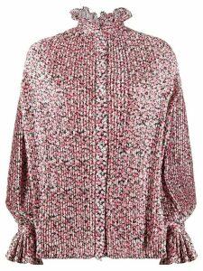 Wandering pleated floral print blouse - Black
