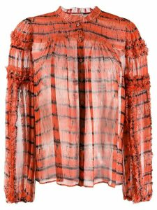 Ulla Johnson long sleeve silk tie-dye top - ORANGE