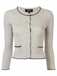 Paule Ka cropped ribbed cardigan - Grey