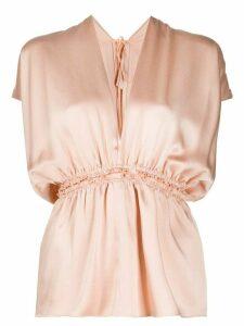 Maison Rabih Kayrouz short-sleeve peplum blouse - NEUTRALS