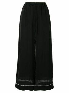 Ports 1961 ric-rac trimmed wide-leg chiffon trousers - Black