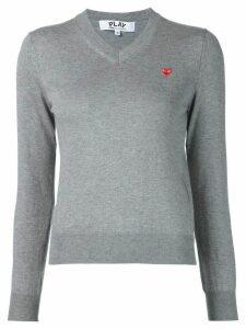 Comme Des Garçons Play mini heart v-neck jumper - Grey