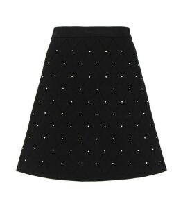 Sandro Paris Embellished Knitted A-Line Skirt