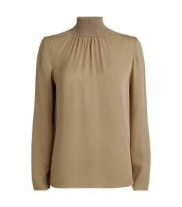 Theory Silk Ribbed Mock-Neck Top