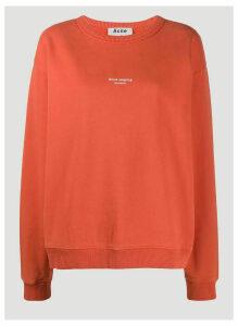 Acne Studios Reverse-Logo Print Sweatshirt in Red size L