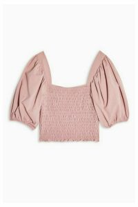 Womens Pink Shirred Short Sleeve Top - Pink, Pink