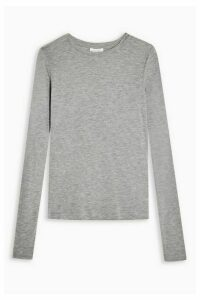 Womens **Grey Marl Long Sleeve T-Shirt By Topshop Boutique - Grey Marl, Grey Marl
