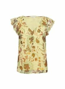 Womens Yellow Floral V- Neck Frill Top, Yellow