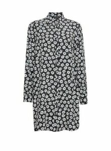 Womens Multi Colour Daisy Print Longline Shirt - Black, Black