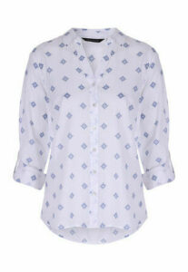 Womens White Patterned Blouse