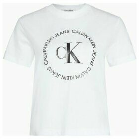 Calvin Klein Jeans  J20J213544 ROUND LOGO  women's T shirt in White