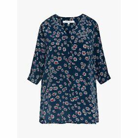 Gerard Darel Novella Silk Floral Blouse, Navy