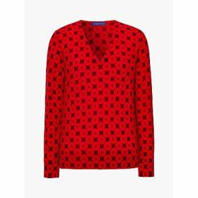 Winser London Merino Wool Button Print V-Neck Jumper