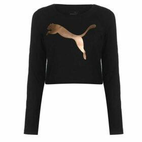 Puma Long Sleeve Crop T Shirt Ladies - Black/RoseGold