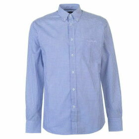 Pierre Cardin Long Sleeve Shirt Mens - Mid Blue Chk