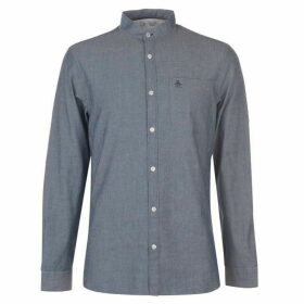Original Penguin Original Long Sleeve Collarless Shirt - Dark Denim