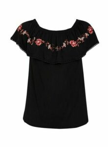 Black Embroidered Gypsy Top, Black