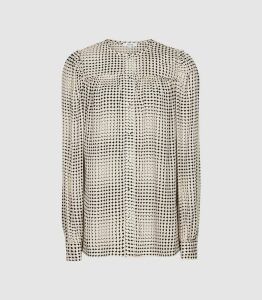 Reiss Joanie - Spotted Printed Blouse in Black & White, Womens, Size 16