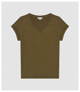 Reiss Luana - Cotton-jersey V-neck T-shirt in Khaki, Womens, Size XL