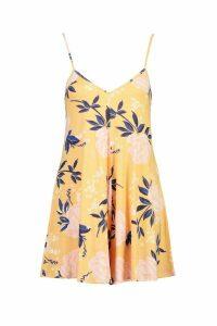 Womens Large Floral Jersey Swing Playsuit - Orange - 14, Orange
