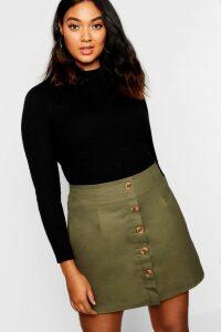 Womens Plus Horn Button Utility Skirt - Green - 20, Green